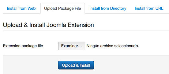 joomla extensions upload package file